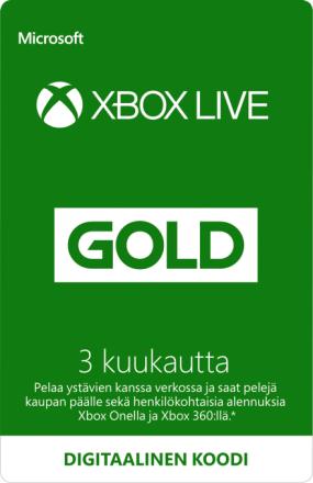 3 kuukauden Xbox Live Gold -jäsenyys (Digitaalinen koodi)