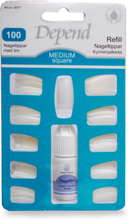 Depend Nageltippar med Lim 100 Medium Square
