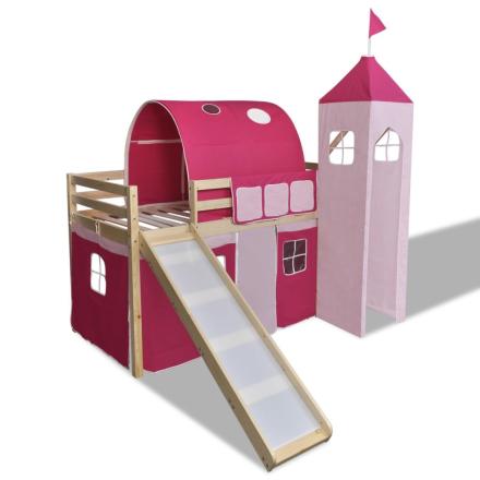 vidaXL Lasten puinen parvisänky + liukumäki ja tikapuut Vaaleanpunainen