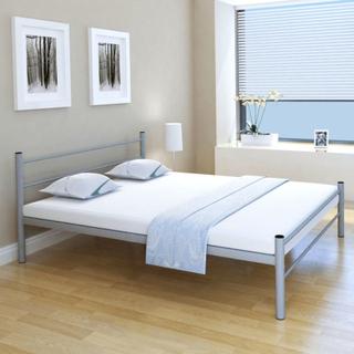 vidaXL Dubbelsäng med madrass metall 160x200 cm grå