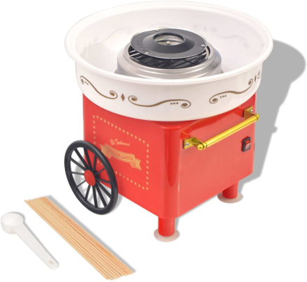 vidaXL candyfloss-maskine med hjul 480 W rød