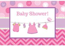 Baby Shower It's a Baby Girl Inbjudningskort