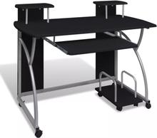vidaXL Databord med uttrekkbart tastaturbrett svart