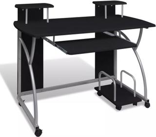 vidaXL Skrivbord för stationär dator svart