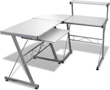 vidaXL Hvit datamaskin bord med uttrekknings tastatur brett