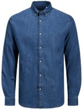 JACK & JONES Leon L/s Stretchig Denimsydd Jeansskjorta Man Blå