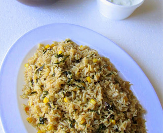 Corn N  Methi Pulao with Cucumber Raita