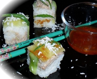 Sushi cube ananas, thon, concombre, menthe