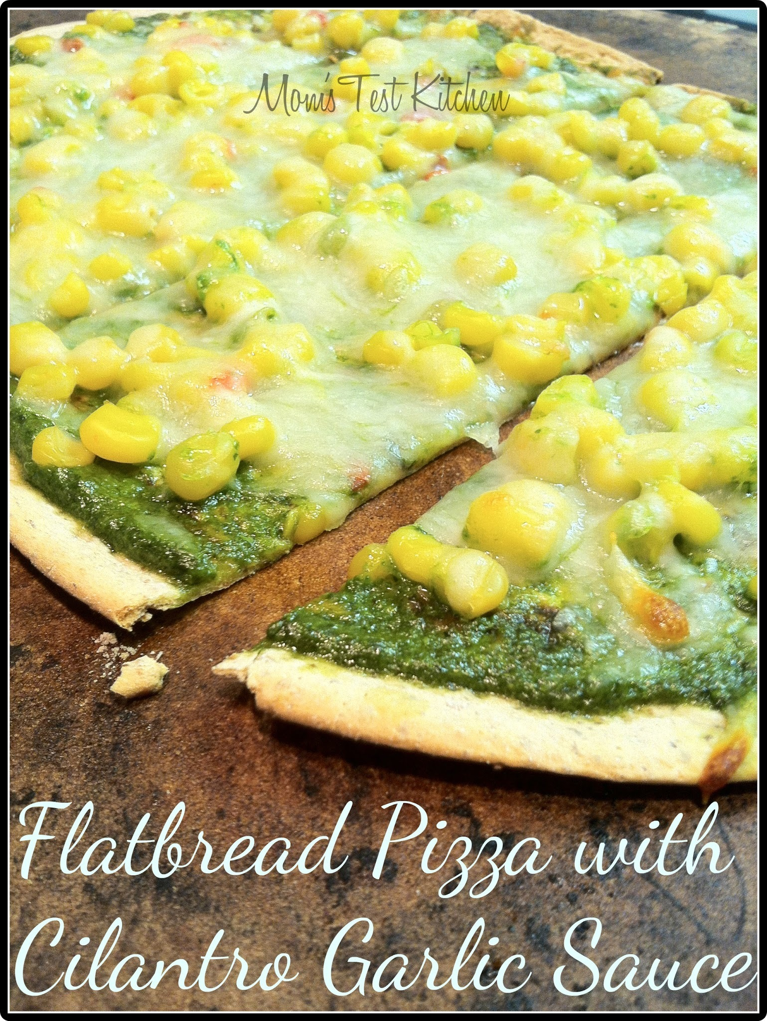 Flatbread Pizza with Cilantro Garlic Sauce #SundaySupper