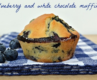 Blueberry and white chocolate muffins.....and Happy birthday to my blog!!!