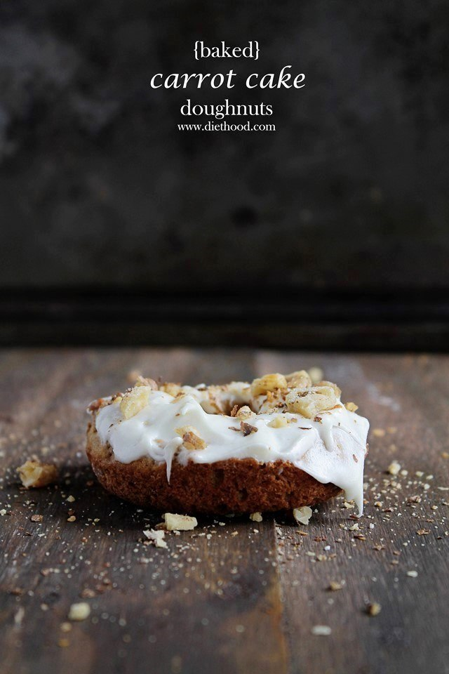 Baked Carrot Cake Doughnuts with Pineapple Cream Cheese Frosting #Secret Recipe Club