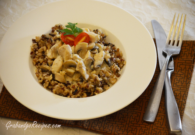 Brown Rice Medley with Creamy Mushroom Sauce
