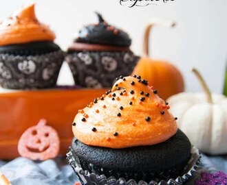 Black & Orange Velvet Halloween Cupcakes
