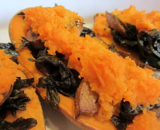 Kale and Mushroom Stuffed Sweet Potatoes