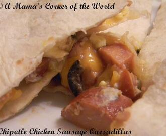 Chipotle Chicken Sausage and Egg Breakfast Quesadilla Recipe Idea