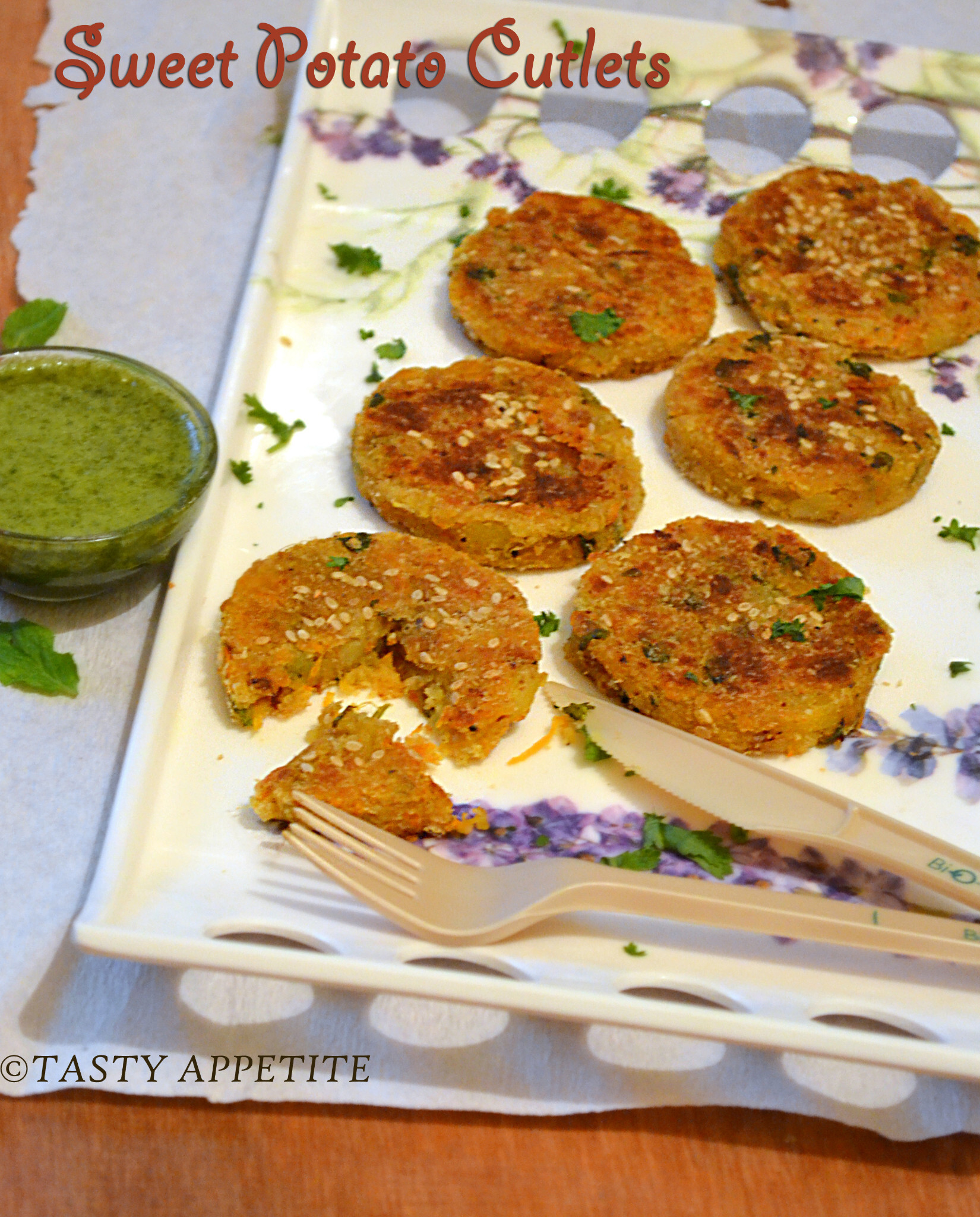 Sweet Potato Cutlets / How to make Green Chutney for Chats / Step by Step