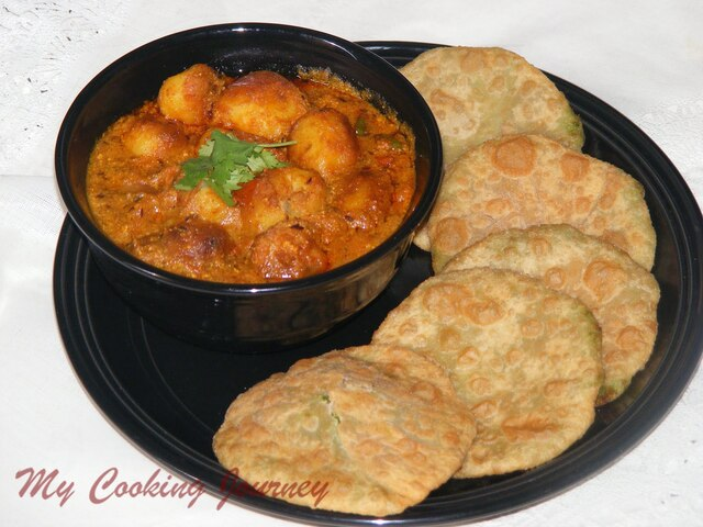 Green Peas Kachori with Spicy Dum Aloo (Fried flatbread stuffed with green peas and Spicy Baby Potato Gravy) - SNC Challenge # 5