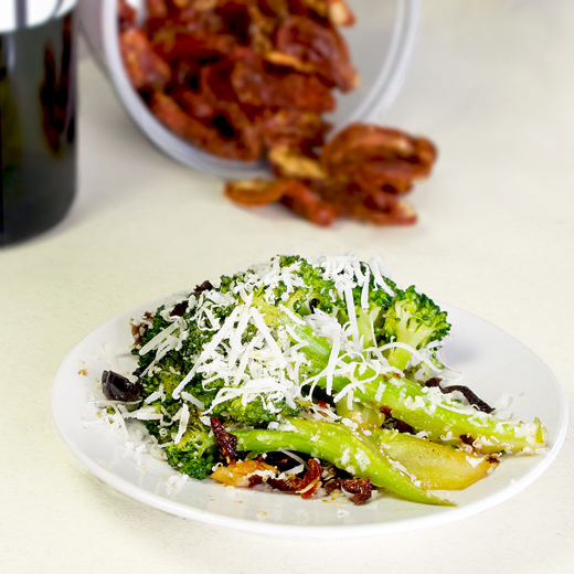 Sauteed Broccoli with Black Olive, Parmesan and Sun Dried Tomatoes