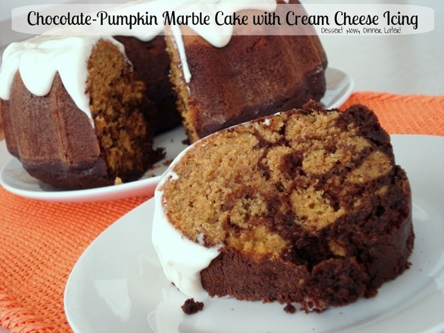 Chocolate-Pumpkin Marble Cake with Cream Cheese Icing