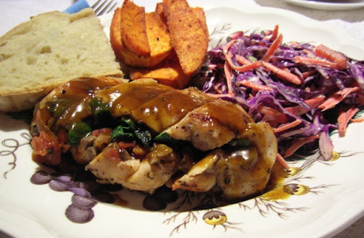 Stuffed Chicken Breasts with Cider Vinegar Sauce