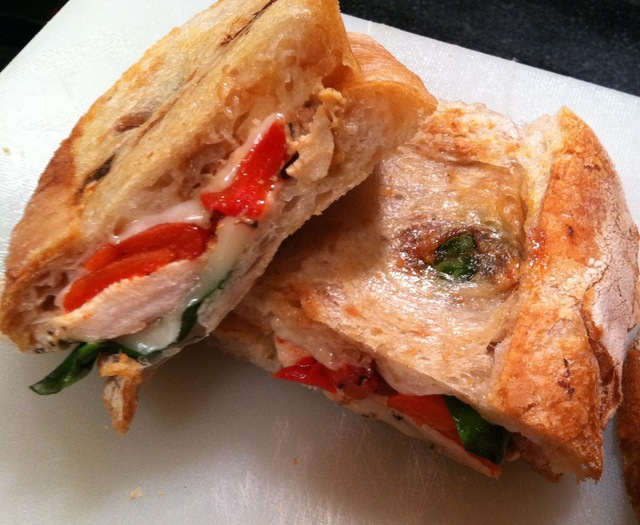 Grilled Chicken, Roasted Pepper, Basil and Mozzarella Panini