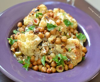 A Vegan Meal: Roasted Cauliflower, Garbanzo Beans and Olives