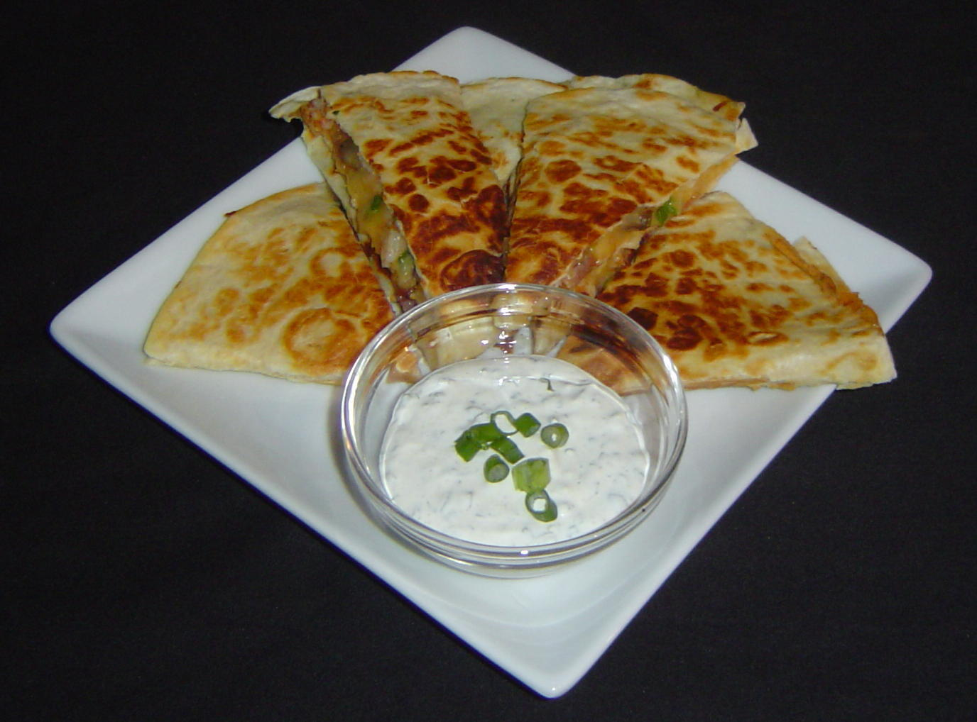 Shrimp, Bacon, and Mushroom Quesadillas with Mexican Herbed Sour Cream