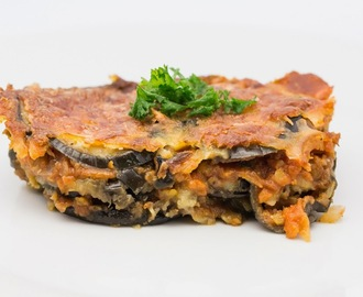 Aubergine and Red Lentil Moussaka
