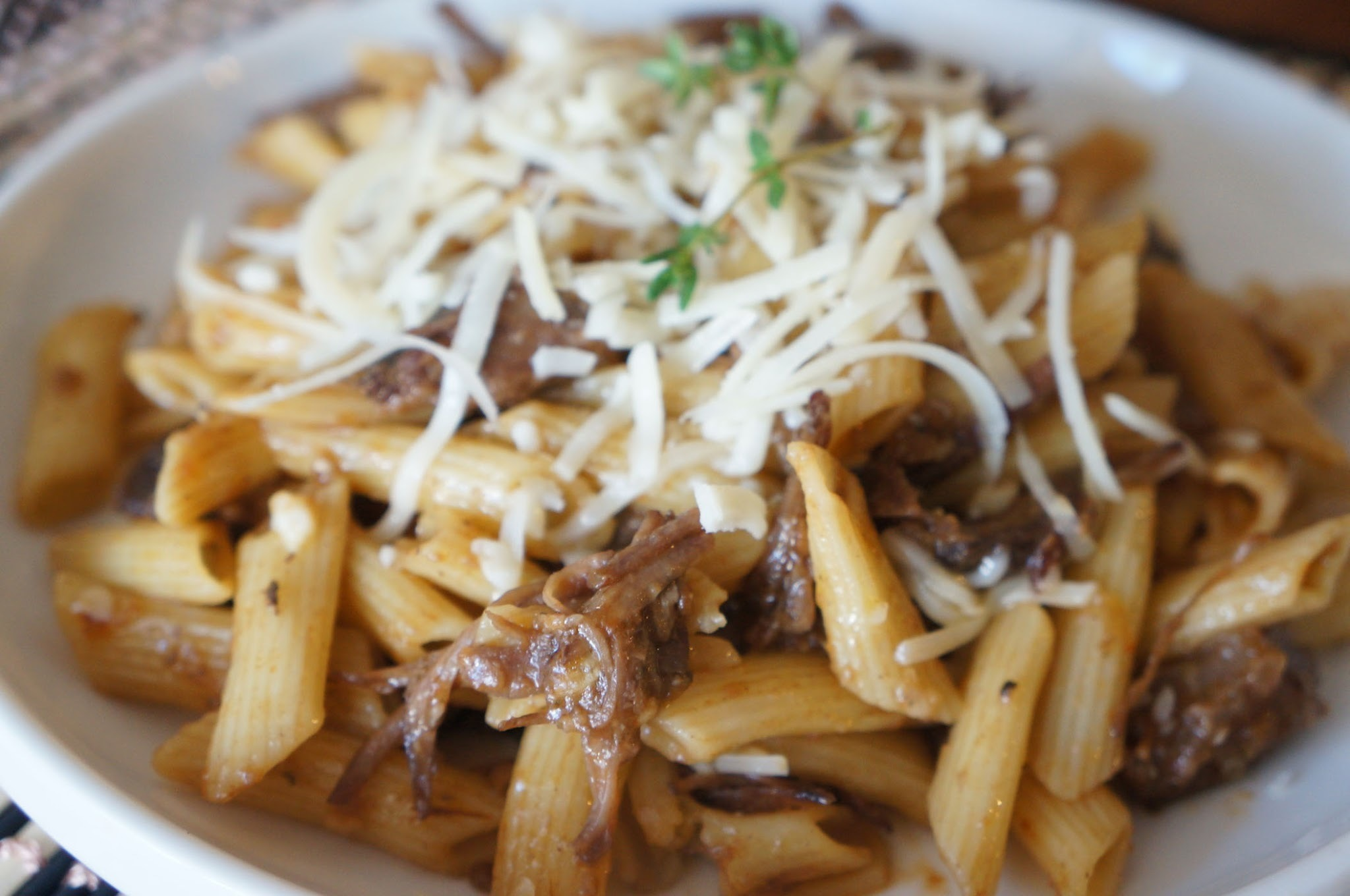 Braised short rib with penne pasta