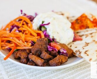 Viana Vegan Turkish Roast with Tzatziki Sauce, Persian Cucumber Salad and Harissa