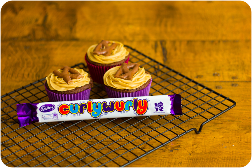 Caramel Filled Curly Wurly & Rolo Cupcakes