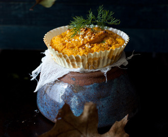 Pumpkin Soufflé with Turkey Bacon and Feta