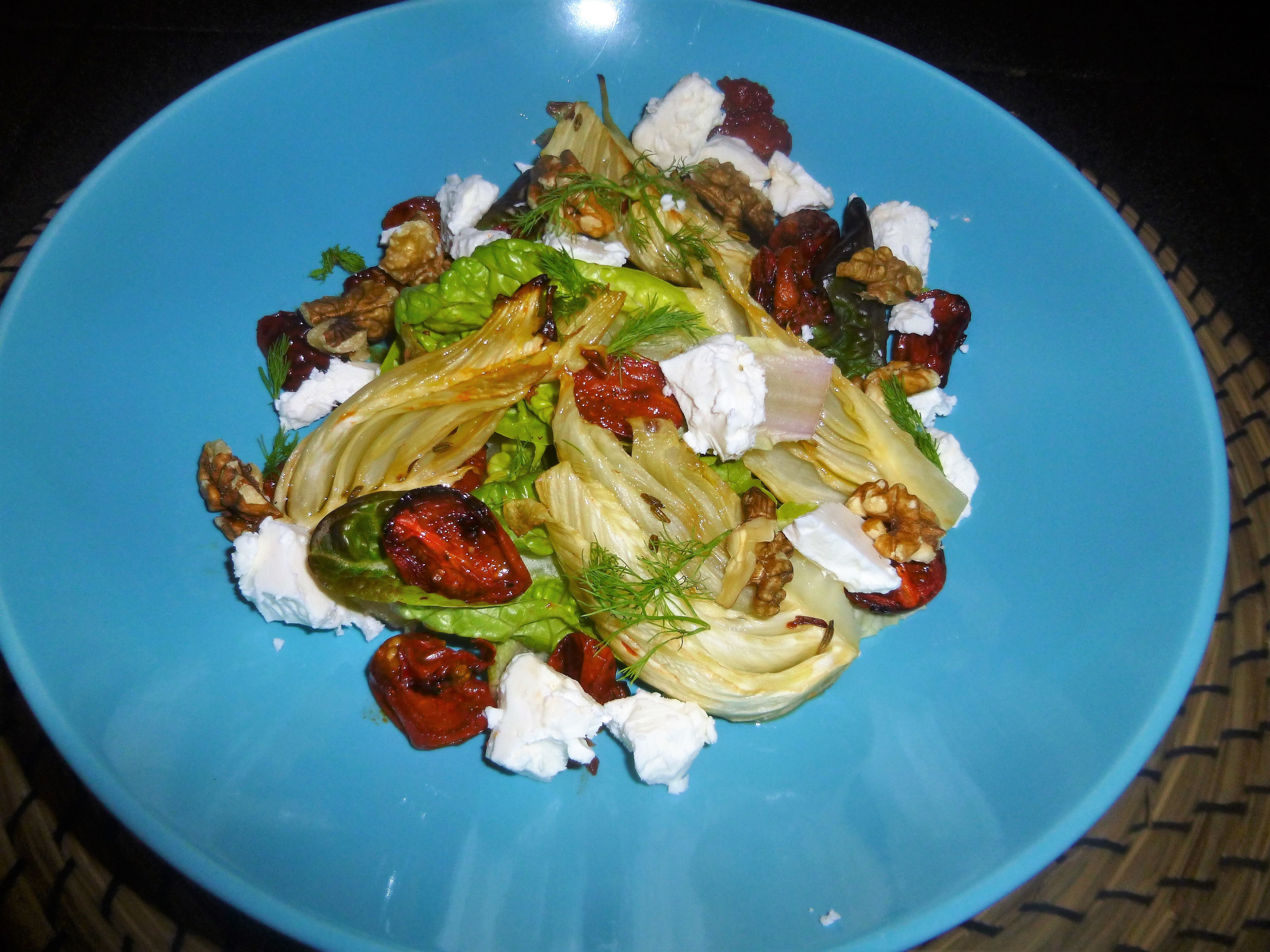 Feta, Roasted Fennel and Tomato Salad with a Balsamic Vinegar and Basil Dressing Recipe