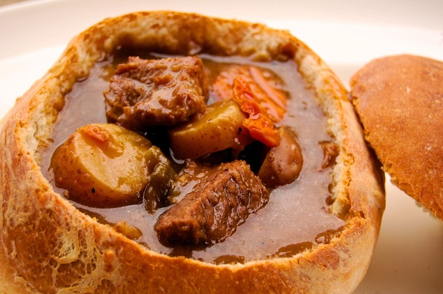 "Jessica of ""Kitchen Bellicious"" Guest Post:  Peppered Beef Soup in Toasted Bread Bowls"