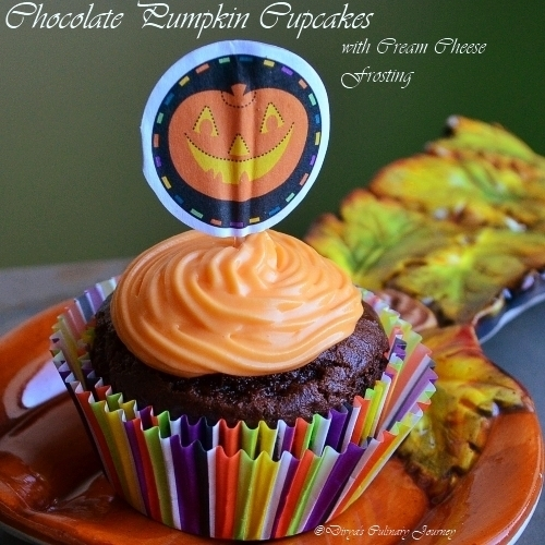 Chocolate Pumpkin Cupcake with Cream cheese frosting(Eggless)- Halloween special