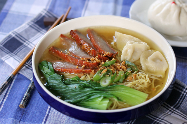 Wonton and Char Siu Pork Noodle Soup