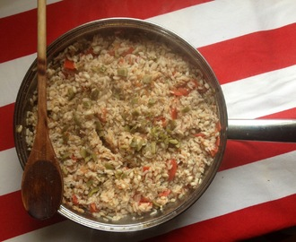 Riso integrale ed orzo con pomodori tonno e olive - Whole rice and barley with tomatoes, tuna and olives