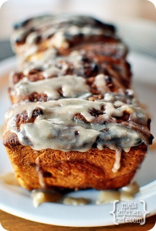 Pumpkin Cinnamon Pull-Apart Bread with Vanilla Glaze