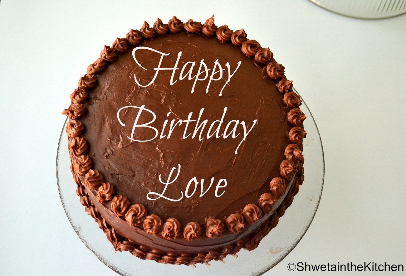 Birthday Cake - Chocolate Cake with Sourcream Filling & Ganache Frosting