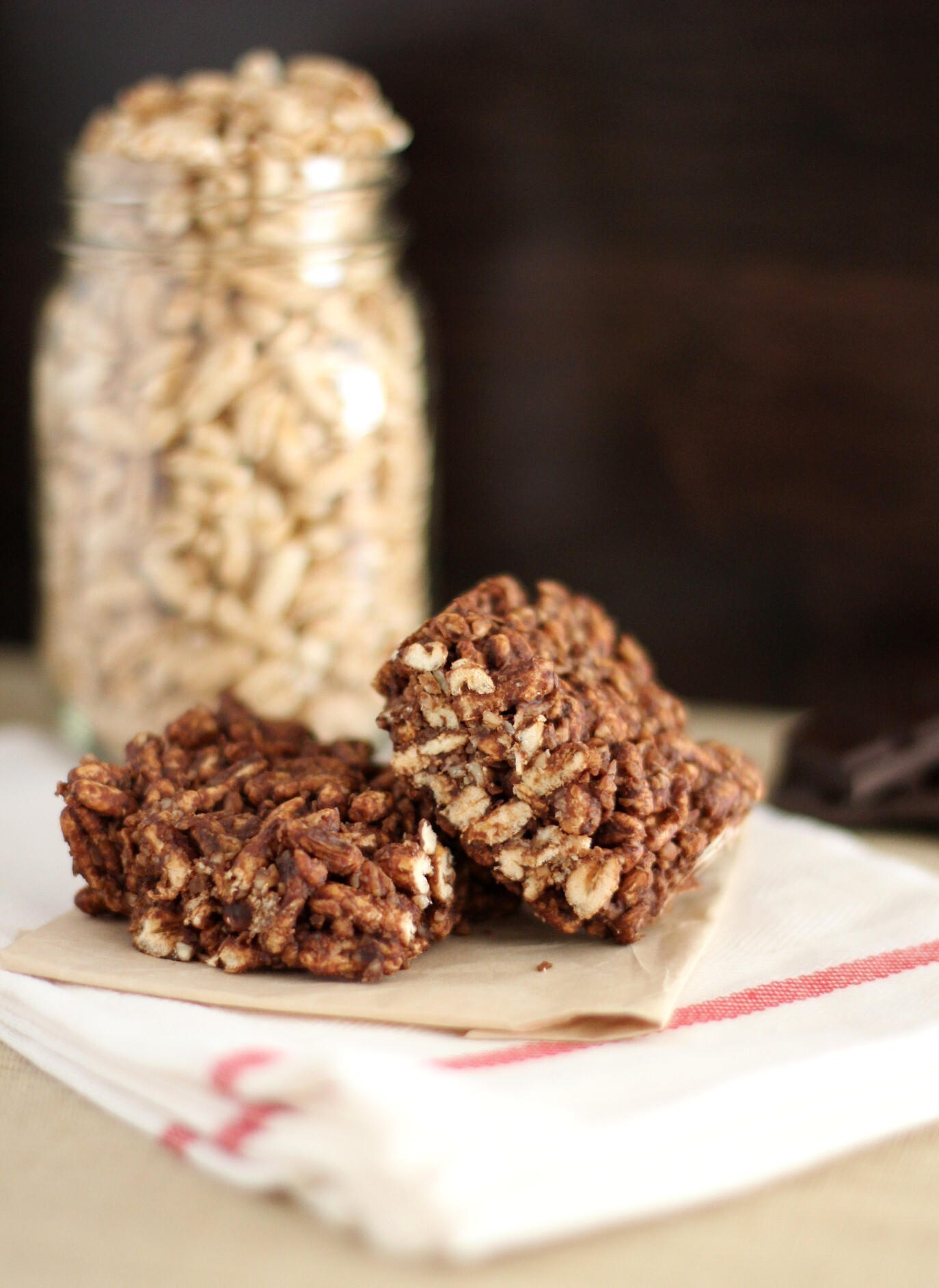 Chewy Chocolate-Tahini Puffed-Grain Squares Recipe from Whole Grains for a New Generation