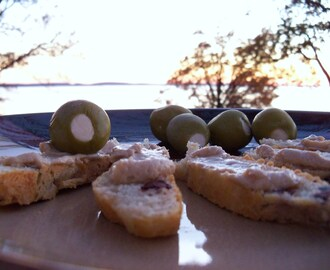 Olive You, Too (Kalamata Bread & Honey Balsamic Goat Cheese Spread)
