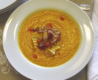 Carrot, Orange, Ginger Soup with Bacon and Dried Apples