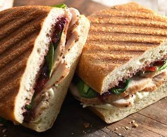 Leftover Turkey and Cranberry Sandwich (Panini-Style), with Herbed Garlic Cream Cheese Spread