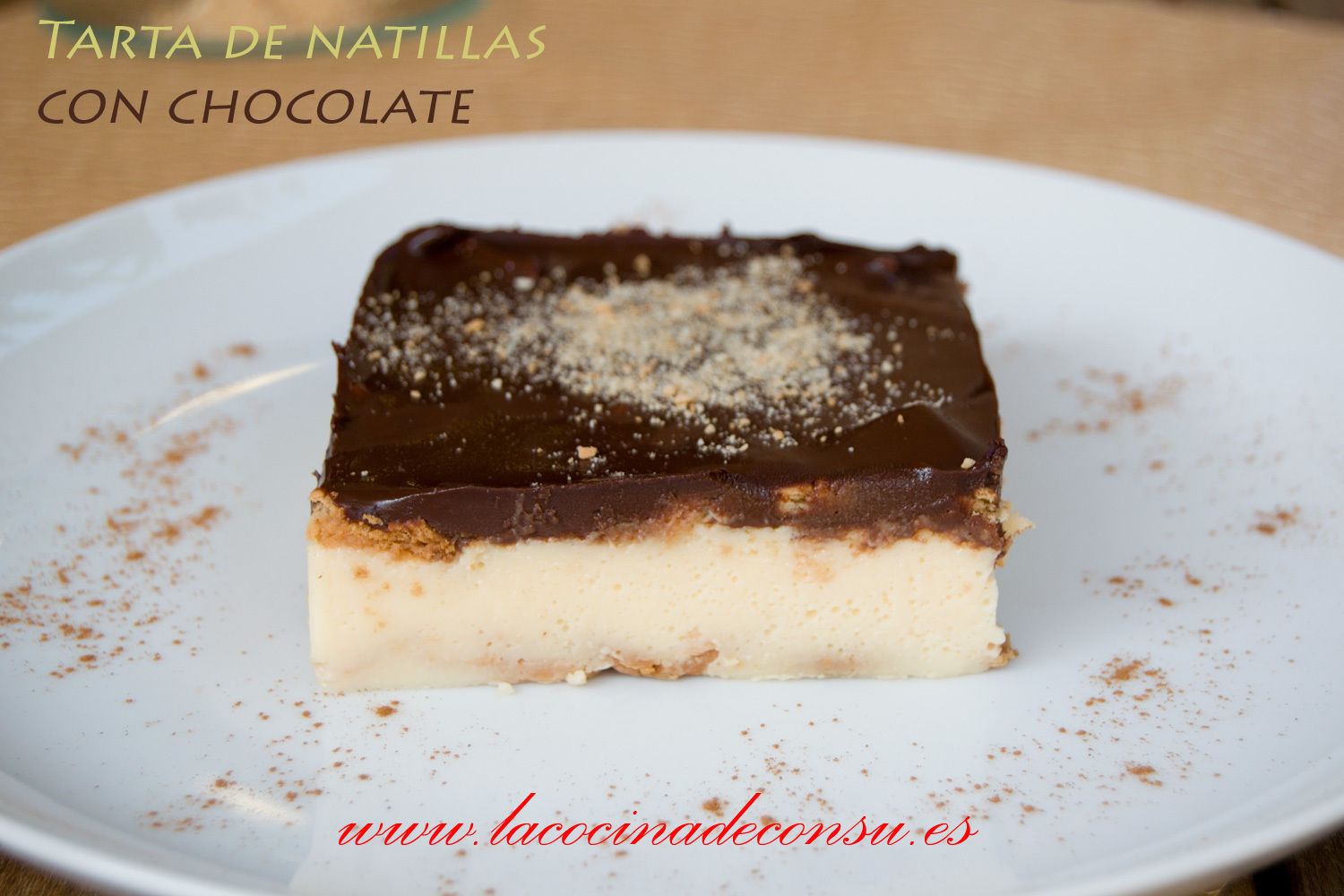 Tarta de natillas con chocolate