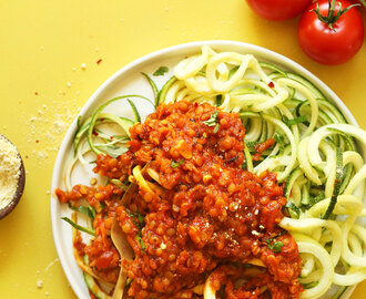 Zucchini Pasta with Lentil Bolognese (30 minutes!)