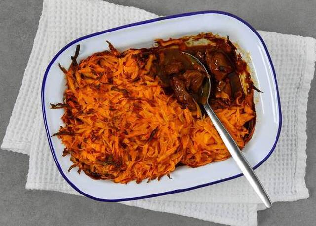 Beef and vegetable stew with sweet potato rosti topping