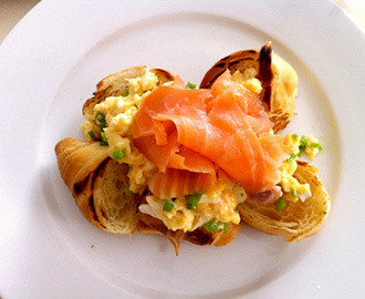 Gordon Ramsay's scramble eggs, with toasted croissants and smoked salmon