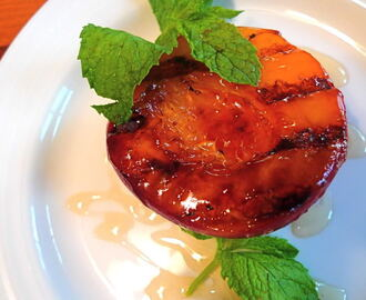 Grilled Nectarines with Honey & Mint