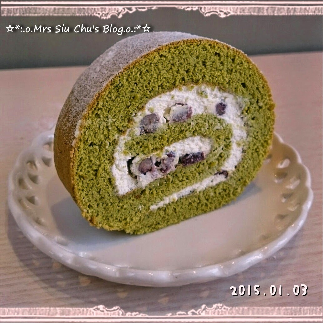 抹茶紅豆忌廉瑞士卷 Green tea roll cake with red bean cream  [Toshiba ER-GD400HK水波爐, 附食譜]