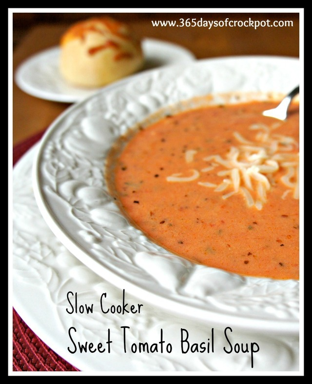 Recipe for Slow Cooker (CrockPot) Sweet Tomato Basil Soup